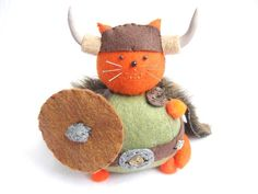 Viking Cat, Cute cat pin cushion, Orange cat, Warrior cat, Cat soft sculpture, Stuffed felt cat, Viking decor, Animal pincushion, MTO
