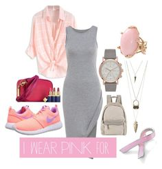 """I Wear Pink for Breast Cancer Awareness"" by laurencia-813 on Polyvore featuring NIKE, Charlotte Russe, Bling Jewelry, Brunello Cucinelli and Lucifer Vir Honestus"