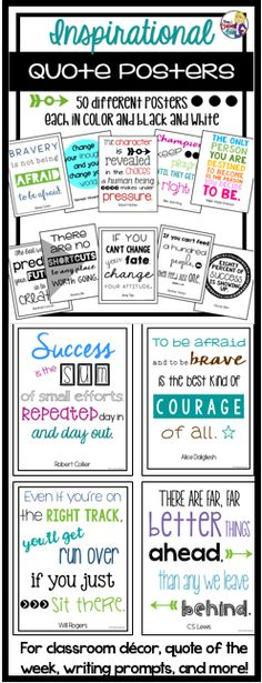 This set of 50 different inspirational posters are a great way to inspire and motivate your students each day! The posters may be used as a motivational wall, as a quote of the week activity, as writing prompts, as discussion starters, for morning meetings, to decorate school hallways, as computer screen savers, and more!