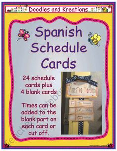 Spanish Schedule Cards product from Doodles-and-Kreations on TeachersNotebook.com