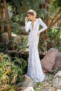 grande immagine  Vestido de noiva Sem Costas Manga Raglã Gola em V de Renda