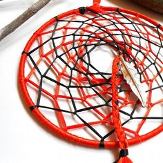 Dreamcatcher double layer orange and black ribbon with feather charm by CrowsdanceDesigns, $26.00 USD