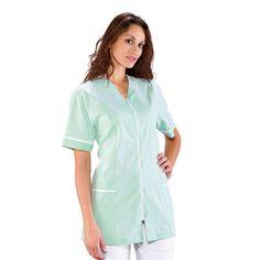 Tunique Médicale Victoria Blanc Rayé Vert 100% Coton