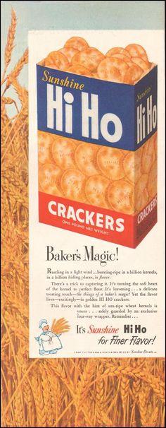 Sunshine Hi Ho Crackers Vintage Ads, Vintage Food, Retro Ads, Hi Ho Crackers, Food Advertising, Soft Heart, Old Advertisements, Salty Snacks, Old Ads