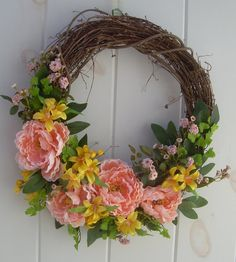 spring wreath, summer peone wreath, easter wreath, mother's day gift, peach and yellow door decor, peone wreath, wedding wreath