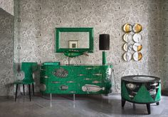 The new Cilindro collection from Fornasetti shown at Salone del Mobile in Milan this past spring. Unique Furniture, Luxury Furniture, Painted Furniture, Milan Design Week 2017, Italian Furniture Brands, Piero Fornasetti, Classic Living Room, Contract Furniture, Hospitality Design