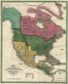 Map of North America (1826) by D. H. Vance