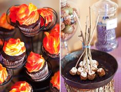 """Love these """"fire-inspired"""" cupcakes for a Glamorous Camping Party!"""