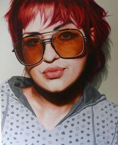 Stephen Martyn Welch, oil on board {figurative realism art female redhead sunglasses woman face portrait painting #loveart} stephenmartynwelch.com