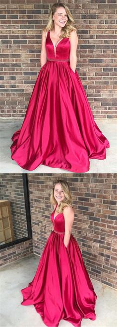elegant red satin prom dress with beading, fashion a-line v-neck evening dress with pocket