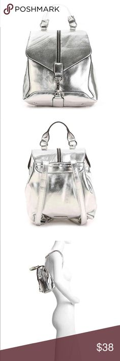 """🆕 Madden Girl Fashion Silver Metallic Backpack NWT.... Madden Girl Fashion Silver Metallic Backpack. Perfect for everything you need!! Compact and Cute!!🌸 Faux Metallic Leather, Dog Clip and Top Snap Closure. Rolled Handle with a 3.5"""" Drop. Shoulder Straps with 17"""" Max Drop. Interior Pockets, one slip one zip... has small scuff on Front. Please refer to pictures. Madden Girl Bags Backpacks"""