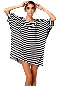 "Plus Size Beach Cover Up for Women (Striped). Brand: Jeasona. Only Jeasona's swimsuit coverup was carefully examined before shipping. Size: Fits US size S-XL. Length 65cm/25.5""(front), 84cm/33""(back), Bust 146cm/57"". Material: Chiffon. This chiffon cover up n swimwear would make you feel cool when you wearing it. Style: Loose and comfortable, striped and transparent design makes you more attractive and sexy. Occasion: This beach cover up perfect for wearing at tanning salon, beach, swimming…"