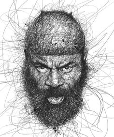 """""""Faces"""" is a series of celebrity portraits made of seemingly random scribbles, created by Malaysian illustrator Vince Low. via Designlov Vince Low's website Line Drawing, Drawing Sketches, Art Drawings, Vince Low, Scribble Art, Face Illustration, Graffiti, Face Sketch, Celebrity Portraits"""