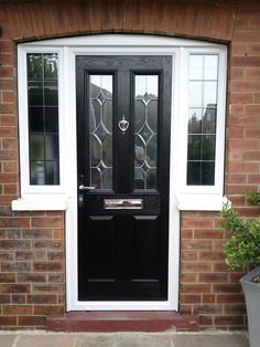 B & G Windows provide our customers with the best quality double glazing for good prices. All windows and doors are custom made to suit your requirements. Black Composite Front Door, Black Front Doors, Front Doors With Windows, Porch Doors, Entrance Doors, Front Door Design, Front Door Colors, Porch Extension, Extension Ideas