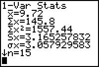 sample statistics on TI 83.