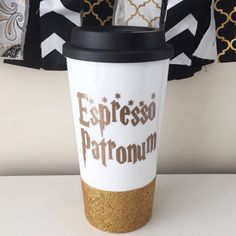 Espresso Patronum Travel Mug Harry Potter mug by ThePinkPolkaDotCC