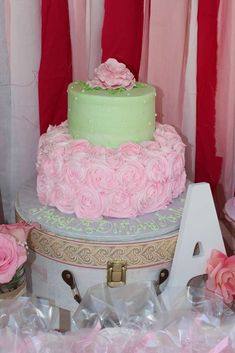 Rose Theme 1st Birthday Birthday Party Ideas | Photo 1 of 31 | Catch My Party  BOTTOM OF CAKE- pretty roses