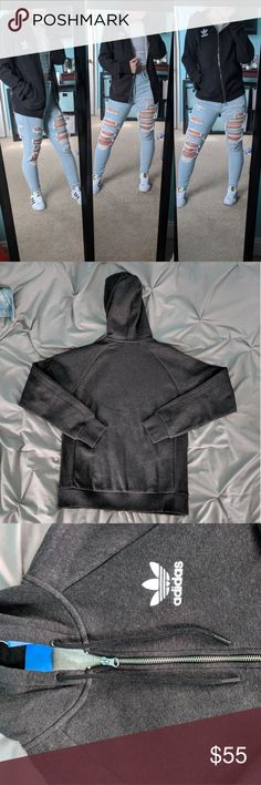 ❕ADIDAS Essentials Zip Jacket❕ Super warm and soft! Dark grey color. NWT. Perfect condition. Don't love the price? Make an offer 😊 adidas Jackets & Coats
