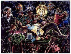 """GYNTIANA-GEBURT ZWIEBELMANN""  1992 oil on canvas 300 x 400 cm / 118 x 157"" JÖRG IMMENDORFF"