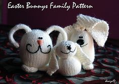 Items similar to Easter Bunnies Family - easy knitting pattern SALE (knitted in the round) on Etsy Easy Knitting Projects, Easy Knitting Patterns, Knitting For Kids, Crochet Projects, Crochet Patterns, Knitting Ideas, Cutest Bunny Ever, Cutest Bunnies, Yarn Thread