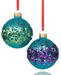 Glittering and colorful ornaments, Holiday Lane Set of 2 Peacock Glitter Ball Ornaments Peacock Christmas Tree, Peacock Ornaments, Glitter Ornaments, Beaded Christmas Ornaments, Handmade Ornaments, Ball Ornaments, Christmas Colors, Painted Ornaments, Xmas Holidays