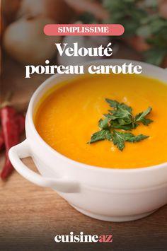 Le velouté poireau carotte est une entrée incontournable de la période hivernale. #recette#cuisine#veloute#soupe #legume #poireau #carotte Celerie Rave, Cantaloupe, Fruit, Food, Cream Soups, Cooking Recipes, Essen, Meals, Yemek