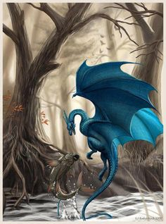 YAY! water dragon with wings! blue stone!