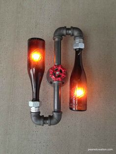 Beer Bottle Lamp - Industrial Sconce - Steampunk Lighting - Shlitz Brewery - New wine old bottles, etsy. do with bare edison bulbs in powder room? or hall? I think I could manage this as DIY project. Maybe as some manly lighting for the garage or man-cave Lampe Steampunk, Wine Bottle Crafts, Wine Bottles, Beer Bottle Lights, Bottle Lamps, Glass Bottles, Bottle Wall, Glass Insulators, Diy Bottle