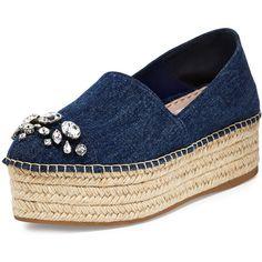 Miu Miu Denim Platform Espadrille Flat (€760) ❤ liked on Polyvore featuring shoes, flats, bleu, woven shoes, flat espadrilles, flat platform shoes, denim espadrilles and jeweled flats