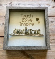 Pebble Art by Jen. Great Gift Idea for Teachers. Stone Crafts, Rock Crafts, Teacher Appreciation Gifts, Teacher Gifts, Pebble Art Family, Shadow Box Art, Pebble Pictures, Sea Glass Crafts, School Gifts