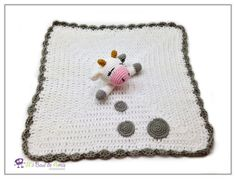 White and Grey Cow Crochet Lovey Baby blanket MADE TO ORDER