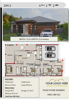 House plans for sale - Affordable Architecture Design & Home builders brochures House Plans 209 2 4 bedroom house plans – House plans for sale 4 Bedroom House Plans, Lake House Plans, Dream House Plans, House Floor Plans, Dream Houses, House Plans For Sale, Small House Plans, Architecture Design, Architecture Sketchbook