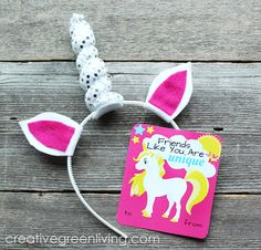 Unicorn horn headband and free printable unicorn valentines
