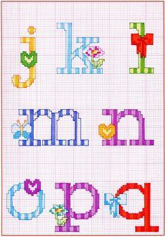 Risultati immagini per fiocchi punto croce alphabets монограмма, алфавит, в Cross Stitch Alphabet Patterns, Cross Stitch Designs, Cross Stitch Needles, Alphabet And Numbers, Cross Stitching, Needlepoint, Needlework, Diy Crafts, Embroidery