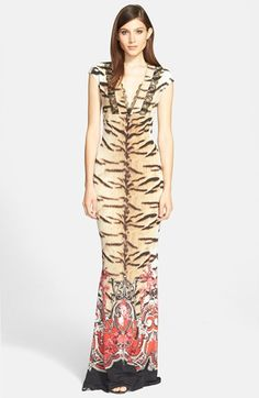 Roberto Cavalli Mix Print Jersey Column Gown available at #Nordstrom