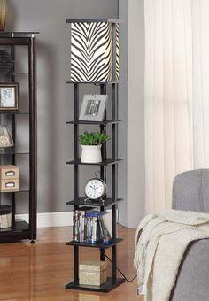 Wooden Floor Lamp with Shelves