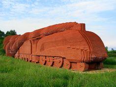 Strange full sized Brick Locomotive sculpture outside Darlington, Durham County, England