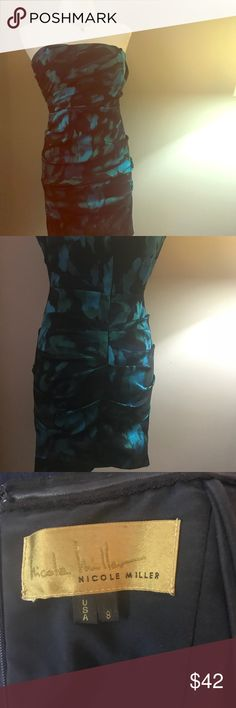 """Nicole Miller Cocktail Dress Elegant Nicole Miller black cocktail dress with blue and green brush strokes. Ruched from top to bottom that hugs curves with stretch while camouflaging any areas of """"concern."""" Nicole Miller Dresses Strapless"""