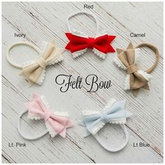 Baby headband SET Baby Headbands Felt Bow by ThinkPinkBows on Etsy