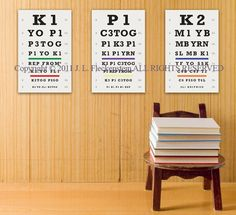 Knitter's Eye Chart (TM) Set of 3 As Seen in Vogue Knitting Fall 2011 and Interweave Knits Holiday Gifts 2011 12 x 18 Inch Prints
