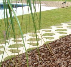 grass and stepping stone pattern