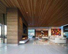 Cozy Modern Living Room Ethanol Fireplace Rammed Earth Modern1