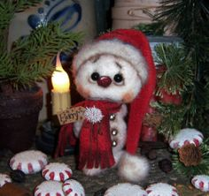 "Primitive Frosty Winter 5"" Snowman Doll ★ Vtg Patti's Ratties Valentine Bear"