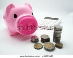 Piggy bank with Thai coins - stock photo