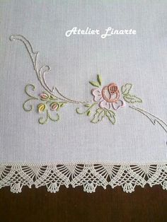 Nice- let the stitches do the talking! The thread crochet is icing on the cake too! Hand Embroidery Stitches, Hand Embroidery Designs, Ribbon Embroidery, Floral Embroidery, Machine Embroidery, Brazilian Embroidery, Embroidery Fashion, Needlework, Crochet Patterns