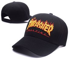 86a909fdba6 Men s   Womenm s Thrasher The Thrasher Magzine Flame Print Embroidery  Adjustable Baseball Curved Hat - Black. Afterimage · Snapbacks