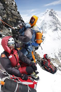 Gerlinde Kaltenbrunner, Ralf Duimovits and Fabrizio Zangrilli on their way top C4. Summit attempt on K2 in 2010. She aborted the attempt because her climbing partner,Fredrik Ericcson, had fallen to his death.