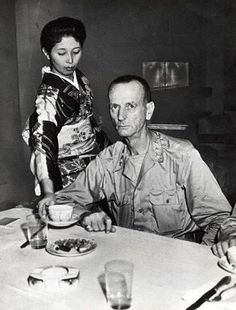 General Wainwright dining at New Grand Hotel, Yokohama, Japan, 30 Aug 1945. He carries all the physical signs of his long POW incarceration in a Japanese concentration camp.