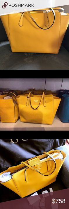 GUCCI LARGE SWING BAG NWT.  Retail price Gucci Large Swing Bag in bumblebee color.  Size: 34Lx30Wx16D(cm).  Retail Price is 949$ plus tax.  Comes with dust bag, authenticity card, and shopping bag.  Brand new.  Never used.  Mint wrap. Gucci Bags Totes