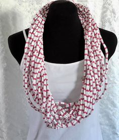 Hot Pink Striped Vegan T-Shirt scarf with 2 Small beaded strands. No animal products Red And White Stripes, Pink Stripes, Neck Wrap, T Shirt Yarn, Handmade Flowers, Strands, Women's Accessories, Hot Pink, Bright